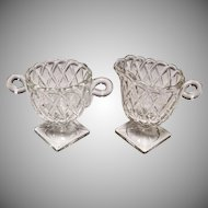 Indiana Glass Crystal Clear Pretzel Pattern Creamer & Sugar Set