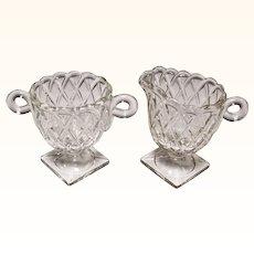 Indiana Glass Crystal Clear Pretzel Pattern Creamer & Sugar Set
