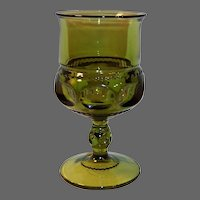 Avocado Green King's Crown Footed Goblet