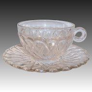 SET of 2: Indiana Glass Pretzel Pattern Cups & Saucers / 50% OFF SALE