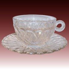 SET of 2: Indiana Glass Pretzel Pattern Cups & Saucers / 50% OFF SALE