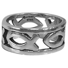 Vintage James Avery Continuous Ichthus (Fish) Christian Sterling Silver Ring; 6.5