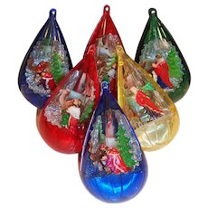 SIX: Jewel Brite Nativity Christmas Tree Diorama Ornaments