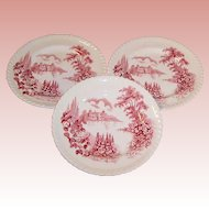 """SET OF THREE: Johnson Brothers: """"Castle on the Lake"""" 6 1/4"""" Plates"""