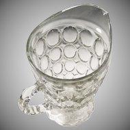 Large Jeanette Glass Thumbprint  Pitcher 54 OZ.