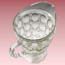 Large Jeanette Glass Thumbprint  Pitcher 54 OZ.