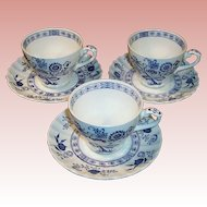 SET OF 3: J & G Meakin Blue Nordic Cup & Saucer Sets