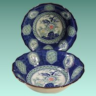Set of 2: Large Rich Blue Asian Bowls -- Empress by Haruta, Japan