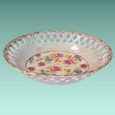 Pierced Lattice & Luster Floral Serving Bowl