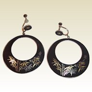 Large Japan Silver Damascene Bamboo Theme Earrings