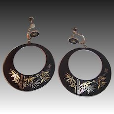 Large Japan Silver Damascene Bamboo Theme Earrings