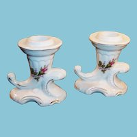 Moss Rose Cornucopia Porcelain Candle Holders
