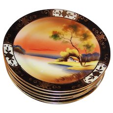 Set of Six: 1918 Gilded Noritake Tree in the Meadow Plates