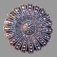 Mid-Century West Germany Eloxal Sparkling Marcasite Medallion / Flower Pin