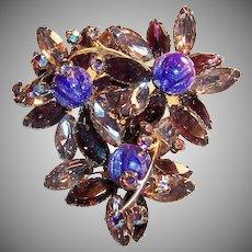 Stunning!  Sparkling  Amethyst & Pink Navettes, Purple Art Glass, & Aurora Borealis Rhinestone Brooch
