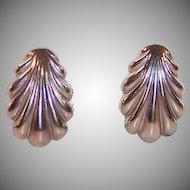 Signed Coro Shell Shaped Earrings