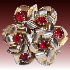 Signed Coro: Sparkling Deep Red Rhinestone Pin