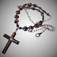 Hematite Cross and Czech Glass Unfailing Love Necklace