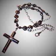 Hematite Cross and Czech Glass Unfailing Love Necklace