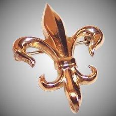 12 KT Gold Filled Fleur De Lis Watch Pin