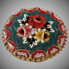 "Vintage Signed 1 1/4"" Older Italian Micro Mosaic Rose Brooch"