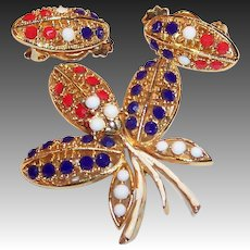 Vintage Red, White, Blue Orchid Shaped Pin with Earrings