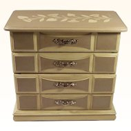 Vintage Painted Large Mirrored Jewelry Chest