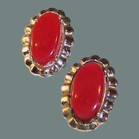 Coro Red Lucite Thermoset Earrings in Silvertone