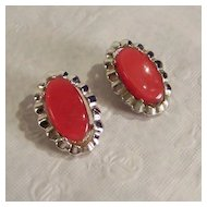 Coro Red Thermoset Earrings in Silvertone