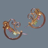 1940's -50's Gilded Bond Boyd Sterling Earrings with Baguettes