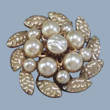 Signed Gina Gems Faux Baroque Pearl Domed & Riveted Brooch