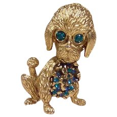 Signed Hobe Puppy Dog Trembler Brooch