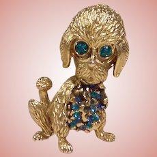 Signed Hobe Puppy Dog Trembler Brooch
