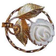 Vintage Karen Lynne 12K GF Carved Rose Pin / Brooch