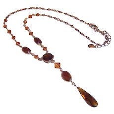 Vintage Liz Claiborne Necklace; Amber & Topaz Colored Faceted Teardrop Pendant and Beads