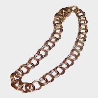"14K Gold Triple Link Charm Bracelet:  7  1/4"""