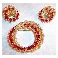 Red Rhinestone Double Circle Wreath: Brooch & Earrings