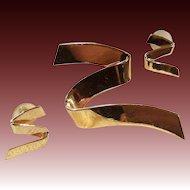 Vintage Monet Modernist Stylized Zigzag Ribbon Pin & Pierced Earrings