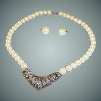 1950's Creamy Simulated Pearl Beaded Necklace with Marcasite Drop  & Coordinating Earrings