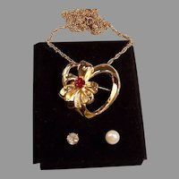 Heart Necklace or Brooch Interchangeable Stones:  for your Valentine!