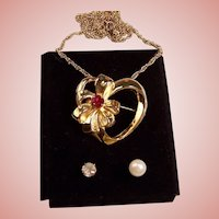 Vintage Heart Pendant / Brooch Interchangeable Stones: Garnet Red, Faux Pearl, Rhinestone--Necklace
