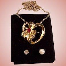 Vintage Heart Pendant / Brooch Interchangeable Stones: Garnet Red, Faux Pearl, Rhinestone--Necklace