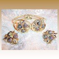 Iridescent Purple Sugar Plums & Fleur De Lis Clamper Bracelet &  Earrings Set
