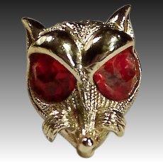 Vintage 1950's Nemo Sly Fox Pin Huge Ruby Red Eyes