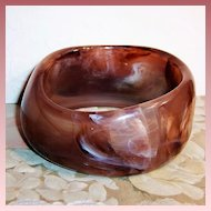Swirling Chocolate Marbled Lucite Bangle