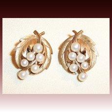 Vintage Crown Trifari Leaf & Simulated Pearl Earrings