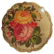 Vintage Russian Floral Lacquer  Pin Brooch