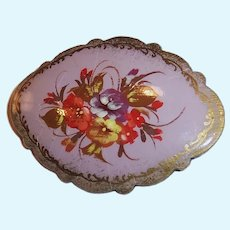 Vintage Russian Lacquer Floral Pin / Brooch