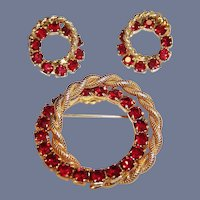 Vintage Christmas Red Rhinestone Double Circle Pin & Clip Earrings