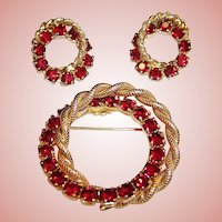 Vintage Red Rhinestone Double Circle Pin & Clip Earrings